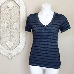 Lucky Brand   Blue Grey Stripe Short Sleeve Tee XS